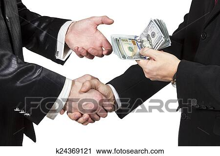 Handshake Of Two Men With The Transfer Money From One Another Isolated On White Background