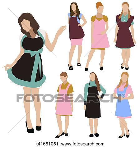 Clipart Of Housewife Woman Silhouette Vector Set K41651051 Search
