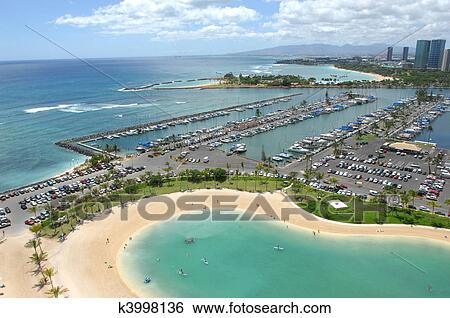 Looking Out Across The Marina In Waikiki Beach Hawaii In