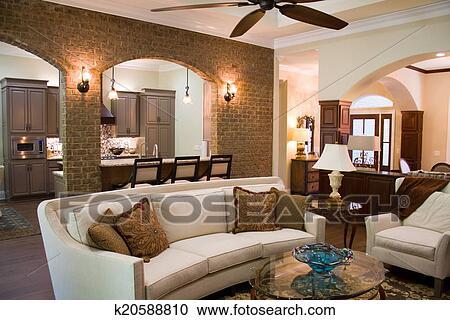 Maison luxe, intérieur Banque d\'Image