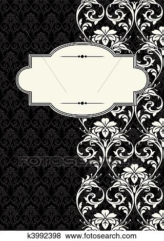 Clip Art of Vector Side Damask Frame k3992398 - Search Clipart ...