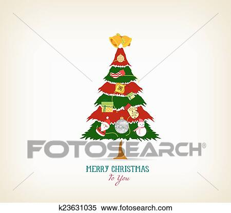Vintage Christmas Tree With Icon Clipart K23631035 Fotosearch