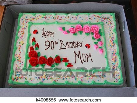 Awe Inspiring 90Th Birthday Cake Stock Photograph K4008556 Fotosearch Personalised Birthday Cards Rectzonderlifede