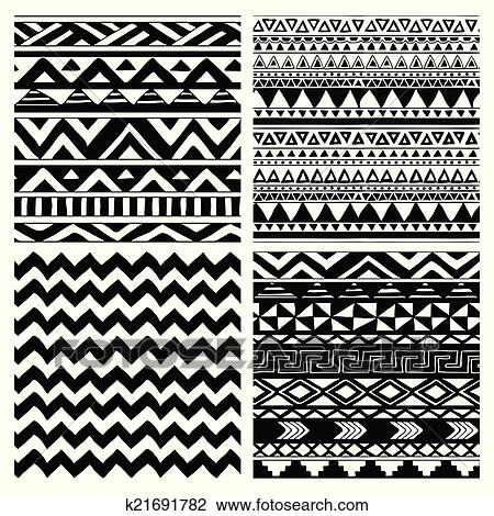Clipart Of Aztec Tribal Seamless Black And White Pattern Set Stunning Aztec Tribal Pattern