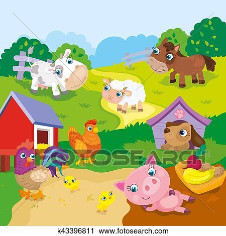 Cartone animato carino animali fattoria clipart k