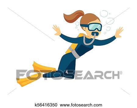 Caucasian white scuba diver enjoying the dive. Clipart | k56416350 ...