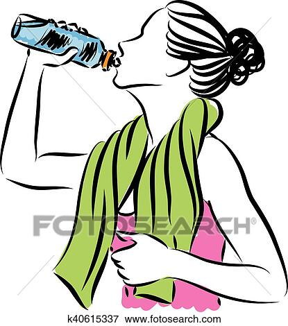 clip art of fitness woman drinking illustration k40615337 search rh fotosearch com drinking clip art pics clipart drinking wine