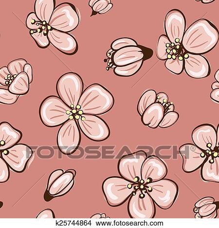 Dibujos Flor De Cerezo O Sakura Seamless Plano De Fondo