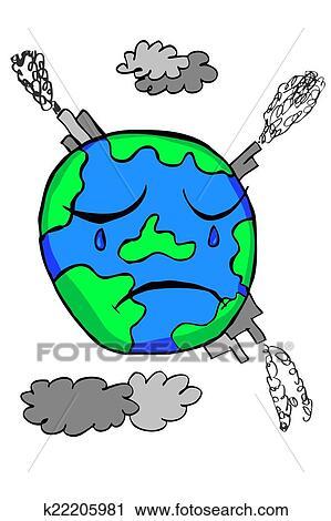 Griffonnage La Terre Pollution Clipart