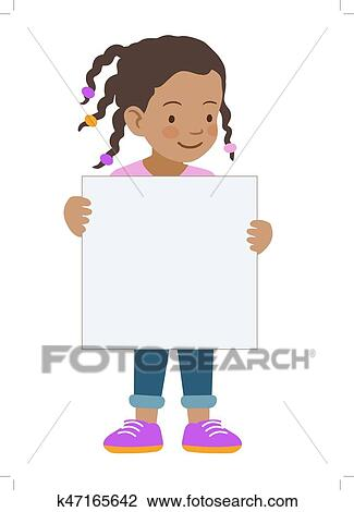 clipart little girl holding blank sign template fotosearch search clip art illustration