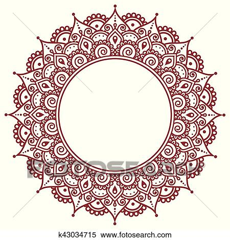 Clipart Of Mehndi Indian Henna Tattoo Pattern Or Background