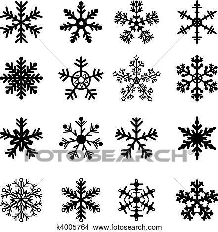 Clipart noir blanc flocons neige ensemble k4005764 - Dessin flocon de neige facile ...