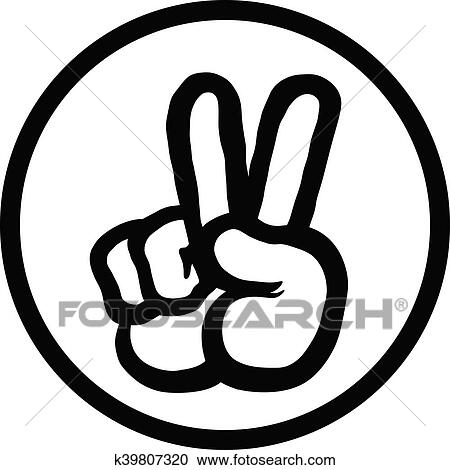 Clipart Of Peace Sign Hand K39807320 Search Clip Art Illustration