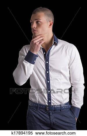 Banque Homme D image Chemise Jeune Bleu Blanche Séduisant rCTaqr 19b4f0ad8f7
