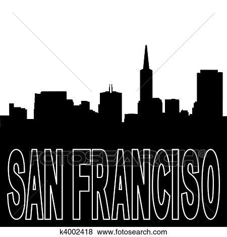 stock illustration of san francisco skyline black silhouette on