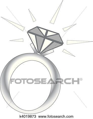 きらめき ダイヤモンド指輪 クリップアート切り張りイラスト絵画