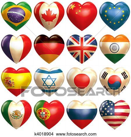 desenhos 16 países corações em 3d k4018904 busca de