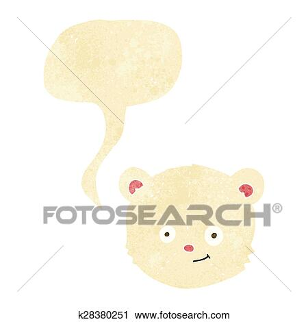Clipart Dessin Anime Ours Blanc Tete A Bulle Discours