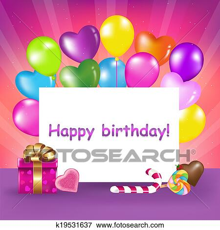 Stock Illustration Of Happy Birthday Card K19531637 Search Eps