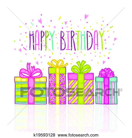 Clip Art Of Happy Birthday Present Gift Box With Confetti K19593128