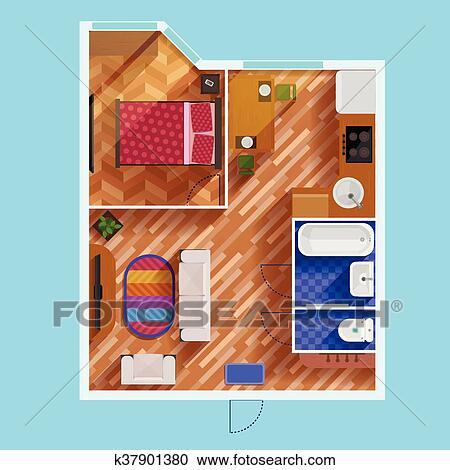 Clipart Plan Implantation De Une Chambre A Coucher Appartement