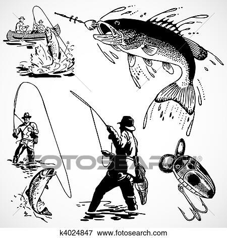 سهم التوجيه خمر صيد السمك رسوم Clip Art K4024847 Fotosearch