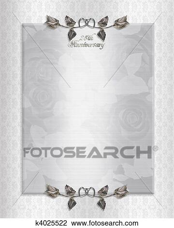 Clip art of 25th silver anniversary invitation k4025522 search illustration silver satin and lace background with 3d text for 25th wedding anniversary invitation template with roses copy space stopboris Gallery