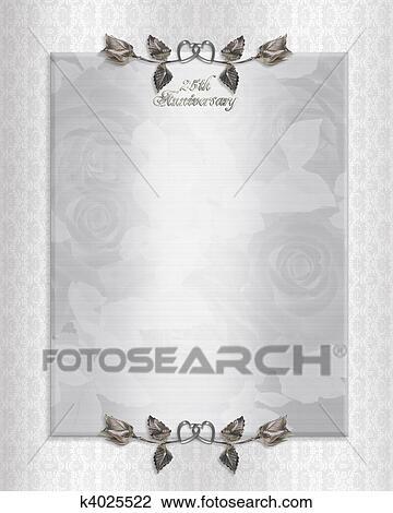 Drawing - 25th silver Anniversary Invitation. Fotosearch