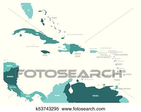 Carte Pays Amerique Centrale.Amerique Centrale Et Antilles Etats Politique Carte Dans Quatre Nuances De Bleu Turquoise A Noir Pays Noms Labels Simple Plat