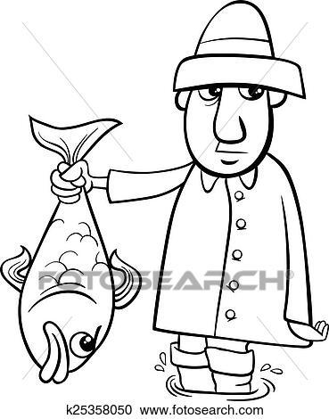 Clipart - angler, mit, fische, färbung, seite k25358050 - Suche Clip ...
