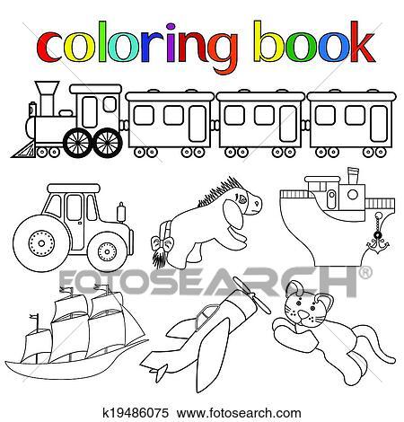 Clipart Conjunto De Diferente Juguetes Para Libro Colorear