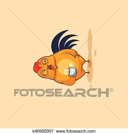 Emoji character cartoon Cock nervous with cup of coffee Clip Art