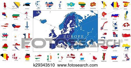 Europe Pays Drapeau Cartes Clipart