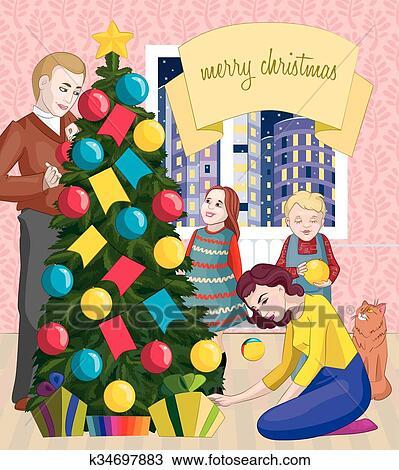Clipart Of Family Christmas Celebration K34697883