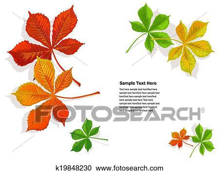 Clipart Herbst Buntes Kastanien Blätter K19848230 Suche Clip