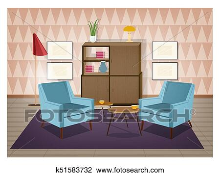 Interior of living room furnished in retro style. Old fashioned furniture  and home decorations - armchairs, carpet, coffee table, sideboard, floor ...
