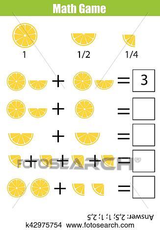 Clipart - mathe, erzieherisch, zählen, spiel, für, kindern ...
