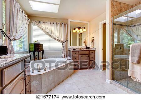 Stock Foto - mooi, badkamer, binnenste, in, licht, mauve, toon ...