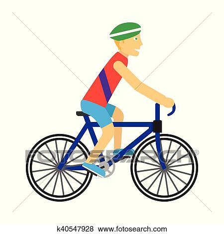 Motociclista Con Bicicletta Vettore In Appartamento Disegno Clip Art