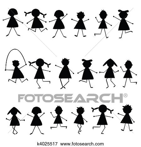 Archivio Illustrazioni Nero Stilizzato Bambini Silhouette