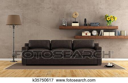 Stock Illustraties - ouderwetse, woonkamer, met, lederene sofa ...