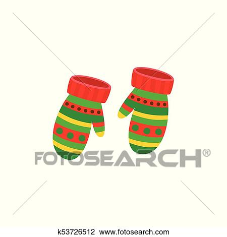 Illustration Pair Of Knitted Christmas Mittens On White Background. Mitten  Icon. Christmas Greeting Card With Mittens Stock Illustration -  Illustration of snowflake, winter: 104457551