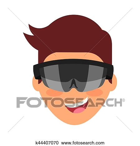 Person with augmented reality glasses Clipart   k44407070   Fotosearch