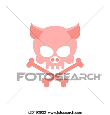Pig skull with bones  Head skeleton of pig  Logo for Halloween  Pink skull  farm animal Clipart