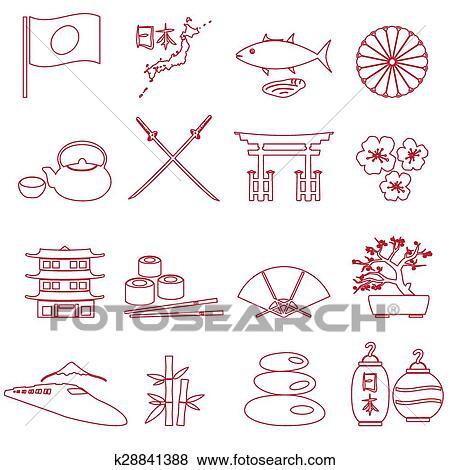 clip art of simple japan theme outline icons set eps10 k28841388