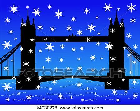 ロンドン橋 中に 冬 イラスト K4030278 Fotosearch