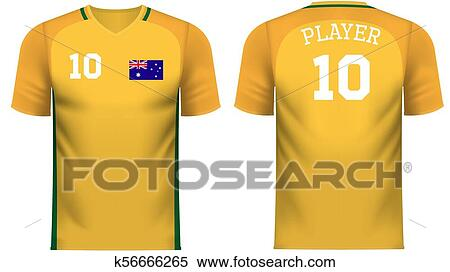 f7d70e9b234 Clipart - Australia Fan sports tee shirt in generic country colors.  Fotosearch