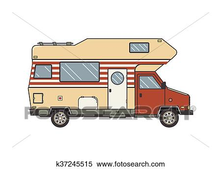 Camping Trailer Family Caravan Traveler Truck Camper Outline Icon In Thin Line Design Vector Flat Vacation RV Illustration Isolated On White Background
