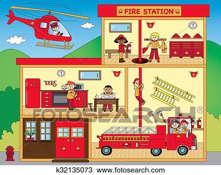Dessin caserne pompiers k32135073 recherchez des - Dessin caserne pompier ...
