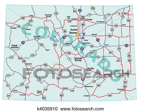 Clipart Of Colorado State Interstate Map K4035910 Search Clip Art